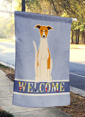 Carolines Treasures  BB5680CHF Whippet Welcome Flag Canvas House Size
