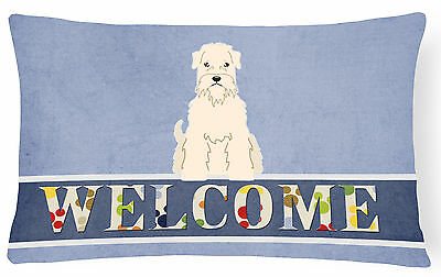 Soft Coated Wheaten Terrier Welcome Canvas Fabric Decorative Pillow