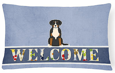 Greater Swiss Mountain Dog Welcome Canvas Fabric Decorative Pillow