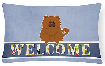Chow Chow Red Welcome Canvas Fabric Decorative Pillow