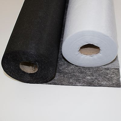 Iron On Fusible Non Woven White Black Interfacing Lightweight, Medium 0.9M Wide
