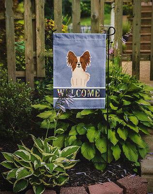 Carolines Treasures  BB5659GF Papillon Red White Welcome Flag Garden Size