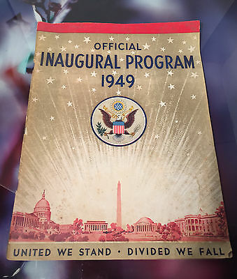 Vtg Official Inaugural Program 1949 Harry S Truman Original
