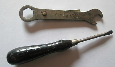 Antique Scarce Small Singer Sewing Wrench Fits Simms And Screwdriver
