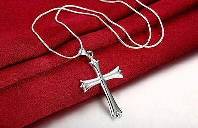 """Mens Womens 925 Sterling Silver Cross Pendant 18"""" Snake Chain Necklace #N56"""