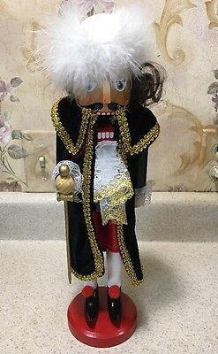"""14"""" Christmas Wooden Nutcracker Noble Fencing Sword Pirate Pointy Shoes"""