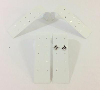4 Pc White Leather 5pr~10 Hole Earring Stud Ramp Stand Jewelry Showcase Display