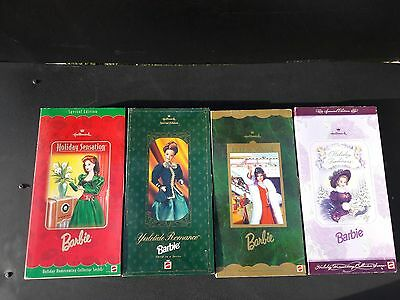 lot 4 Hallmark Holiday Barbie dol Mattel Special Edition 17094 19792 15621 18651