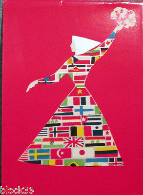 1968 VERY RARE Soviet Propaganda card WOMAN IN DRESS MADE FROM FLAGS