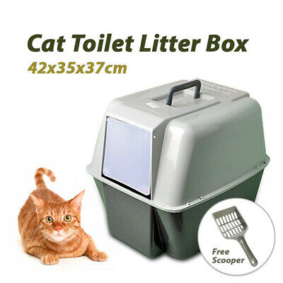 Portable Hooded Cat Toilet Litter Box Tray House With Handle and Scoop Clean AU
