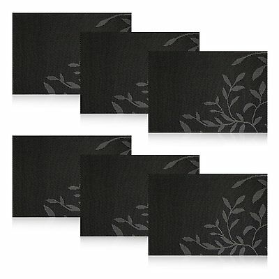Dining Table Placemats Woven Vinyl Placemats Set of 6 Kitchen Table Mats Black