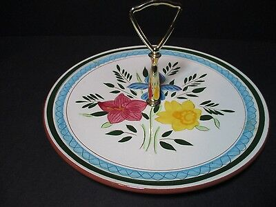 "Stangl Country Garden Serving Candy Tidbit Dish Platter W/handle 10""  Bright"