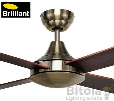 """New Brilliant Tempo Antique Brass Ceiling Fan With Timber Blades 48"""" - 100010/22"""