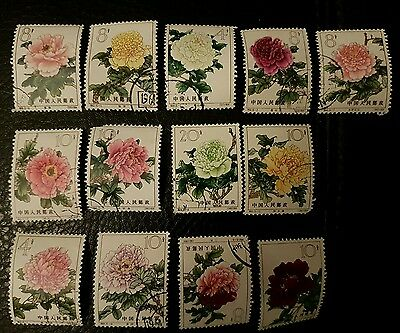 china antique stamps-peonies 1964