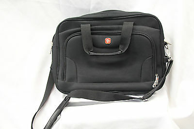 Swiss Army Extendable Book Bag Briefcase Laptop Black Great Used Condition 2345