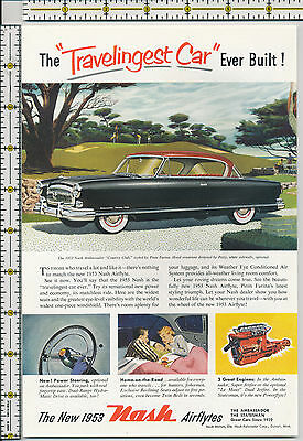 Nash Motors auto car 1953 magazine print ad