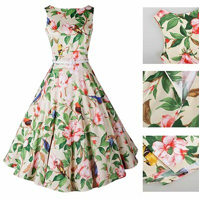Fashion Women Vintage 50's 60's Floral Printed Rockabilly Swing Cocktail Dress