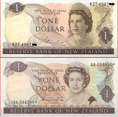 New Zealand $1 First &Last Hardie Pair QE2 Banknote Designs 1977 + 1981 AA* STAR