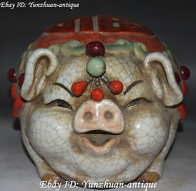 China Wucai Porcelain Wealth Fu Feng Shui Pig Pigs Money Container Pot Statue