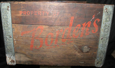 Empty Wooden Primitive Bordens Ny Dairy Milk Crate