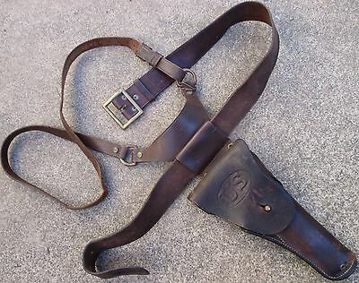 1942 JQMD Holster Rig Colt 1911A1 1939 Dated Sam Brown Belt Salty Used & Right