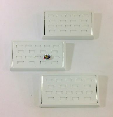 3pc White Leatherette 18 Ring Slots Combo Stand Jewelry Showcase Display