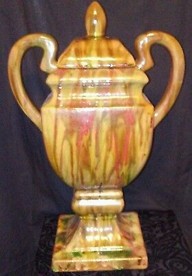 "Large Porcelain 18"" Urn with Handlles- Multi-Colored"