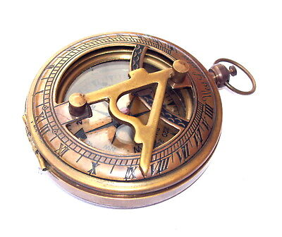 Collectible Solid Brass Push Button Compass Engraved Sundial Pocket Gift