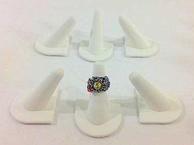 6pc White Leatherette Single Finger Ring Combo Stand Jewelry Showcase Display