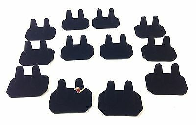 12pc Black Velvet Double Finger Ring Combo Stand Jewelry Showcase Display
