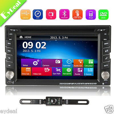 "6.2"" GPS Navigation HD Double 2 DIN Car Stereo DVD Player Bluetooth TV MP3+CAM"
