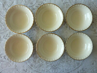 GRINDLEY ENGLAND SOUP OR CEREAL BOWLS X 6 CREAM GILDED PIECRUST RIM c.1936-54