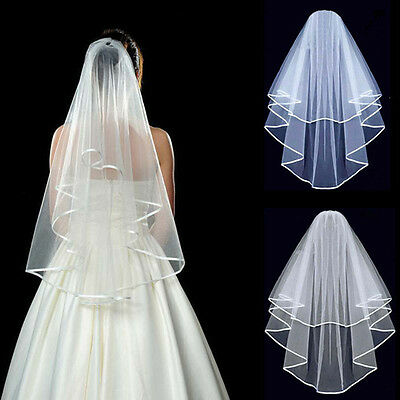 New 3Layer White/Ivory Wedding Bridal veils elbow Length Satin Edge with comb 1X