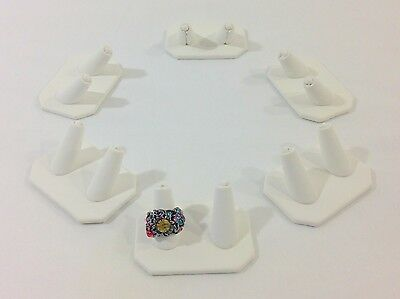 6 pc White Leatherette Double Finger Ring Combo Stand Jewelry Showcase Display