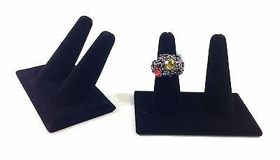 2pc Black Velvet Double Finger Ring Combo Stand Jewelry Showcase Display 2