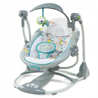 Portable Baby Swing Converts To Seat Newborn Infant Foldable Bouncer Toy Travel