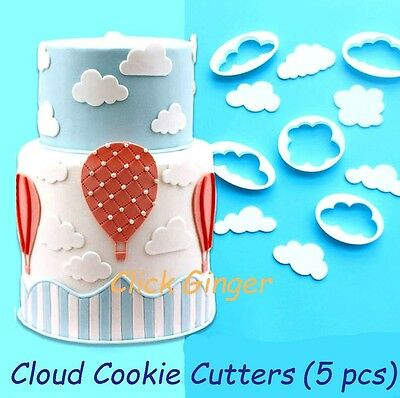 Cloud Cookie Cutter (5pcs) Sky Baby Shower Cupcake Topper Cake Decoration