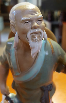 Vintage Ceramic Art Pottery Chinese Figurine Man With Fish, Marked & Numbered