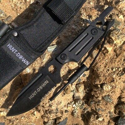 """Hunt-Down 9.5"""" Stonewashed Fixed Blade Full Tang Tactical Knife Sheath & Wrench"""