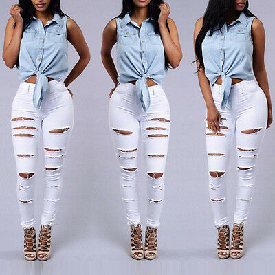 Women Denim Skinny Ripped Pants Hole Stretch Ripped Jeans Long Pencil Trousers