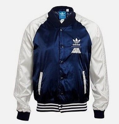 %adidas Star Wars Satin Empire Darth Vader Blue Track Jacket M L Xl