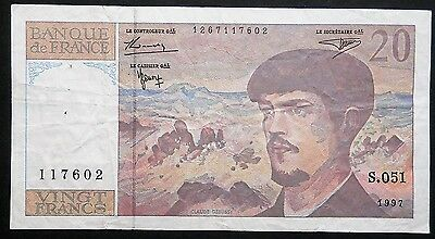 1997 Pre Euro French 20 Francs Banknote  Fine