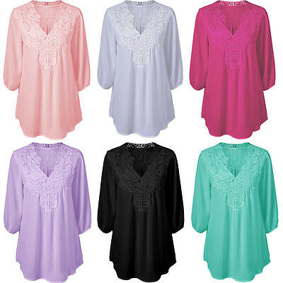 Fashion Womens Long Sleeve Shirt Casual Blouse Loose Chiffon Tops T Shirt