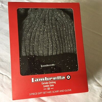Mens Lambretta Hat Scarf And Gloves Set Boxed New Grey/black Fleck Acrylic