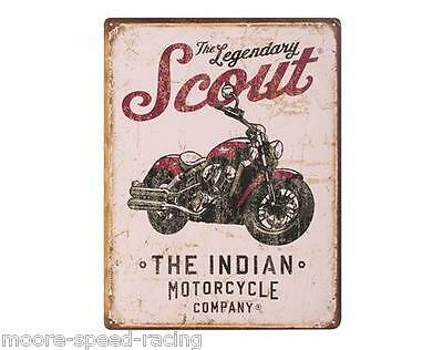 Indian Motorcycle Scout Legendary Sign metal mens gift garage home poster photo