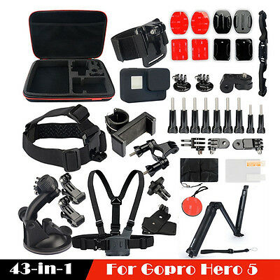 43 in 1 Accessories Spare Kit Set Housing Case  For GoPro Hero 5 Helmet Camera