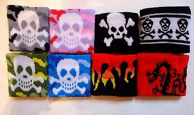 Boys/Girls Camouflage Pirate Skull & Crossbones Flames Wristband Sweatband