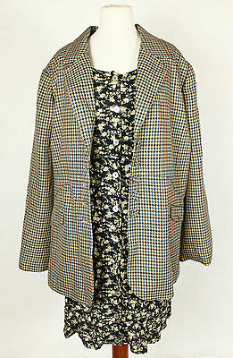 VINTAGE 90s BLAZER JACKET HOUNDSTOOTH PATTERN BROWN WOMENS LARGE