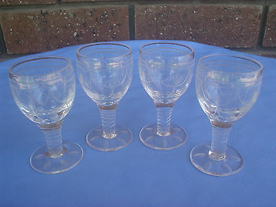 Stuart Crystal Tamara Cordial Glass Set Of 4 3 Inches High Port & Sherry