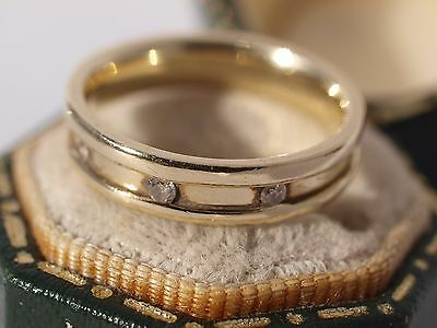 9ct Yellow Gold Diamond Set Ring Wedding Band